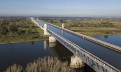 Aerial view of Magdeburg Water Bridge