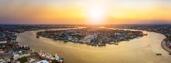 aerial view of Mahachai-Tha Chalom Town in Samuth sakorn outskirt Bangkok Thailand