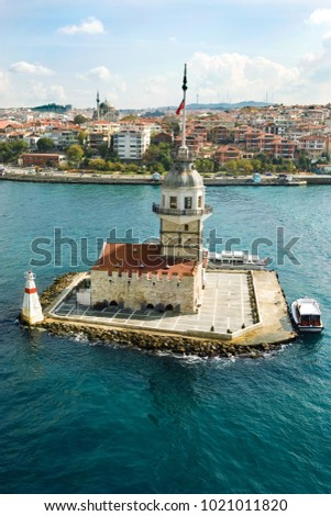 Aerial view of Maiden's Tower in Istanbul on the Bosphorus. #1021011820