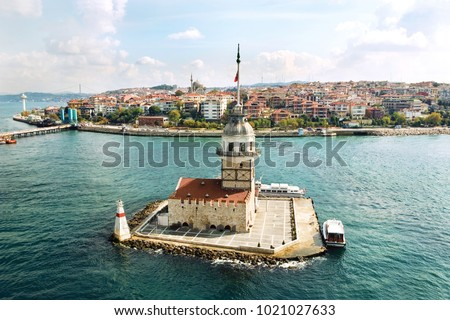Aerial view of Maiden's Tower in Istanbul on the Bosphorus. #1021027633