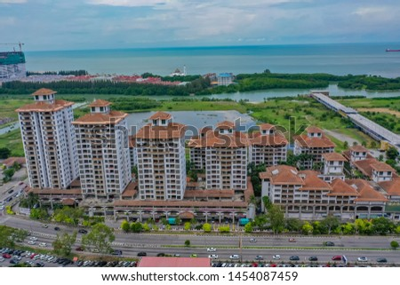 Aerial View Of Malacca Jetty Suites Apartments With The Ocean View, Modern Low-Costs Suites Apartments With Kitchenettes And Balconies.  #1454087459