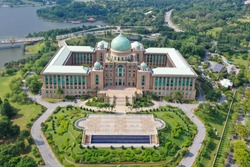 Aerial View Of Malaysia Prime Minister's Department Complex Putrajaya With Garden Concept