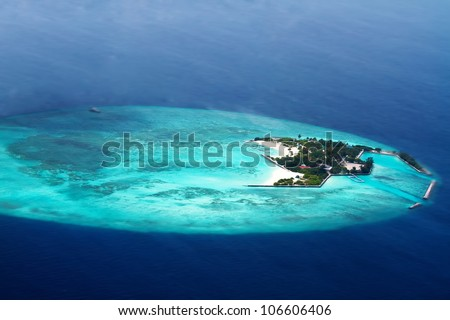 Aerial view of  Maldive islands