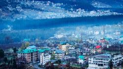 Aerial  view of Manali city in India from the  Mountain