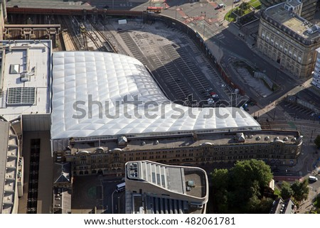 aerial view of Manchester Victoria railway Station, UK
