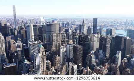 aerial view of manhattan / Aerial view of the skyscrapers of Midtown Manhattan New York City