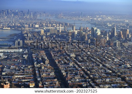 Aerial view of Manhattan and downtown Brooklyn, New York