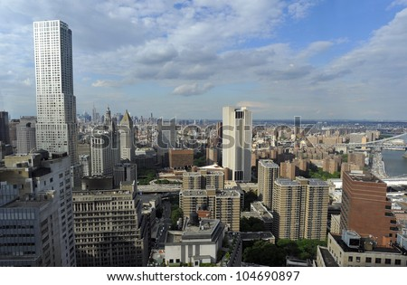Aerial view of Manhattan from Wall street building rooftop, New York City. USA.