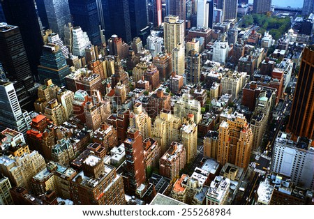 Aerial view of Manhattan in New York city #255268984