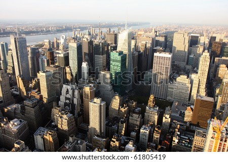 Aerial view of  Manhattan in New York city at sunset