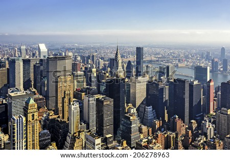 Aerial view of Manhattan, New York City. #206278963