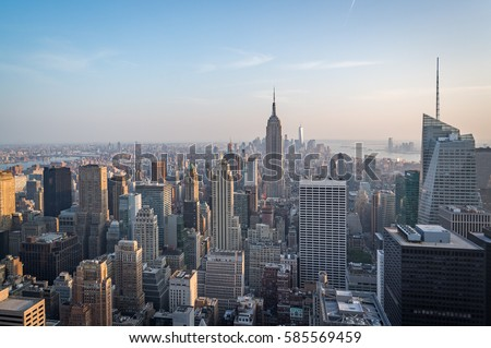 Aerial view of Manhattan skyline, New York City, USA during afternoon #585569459