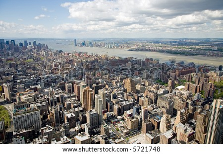 Aerial view of Manhattan taken from the top of the Empire State Building in New York City. - stock photo