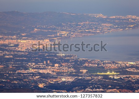 Aerial view of Marbella coast at night. Costa del Sol, Andalusia, Spain