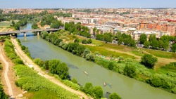 Aerial view of Marconi Bridge, in Rome, Italy. Under the bridge flows the Tiber river