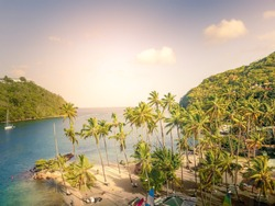 Aerial view of Marigot bay in St Lucia - Caribbean