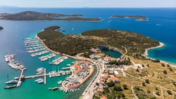 Aerial view of Marina Frapa resort, Croatia. Beautiful yachts in Marina during sunny summer day.