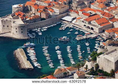 Aerial view of marina in the Old Town of Dubrovnik, Croatia.