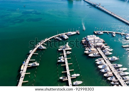 Aerial View  of Marina with boats in Biscayne Bay, Miami. #92998303