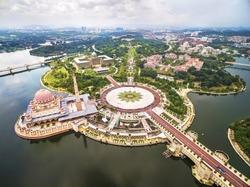 Aerial view of Masjid Putra, or Pink Mosque, in Putra Jaya, near Kuala Lumpur, Malaysia.