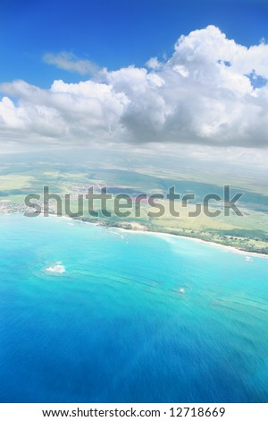 Aerial view of Maui island in Hawaii