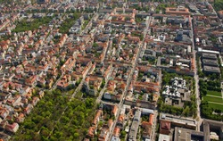 Aerial view of Maxvorstadt and Old Northern Cemetery, Munich, Germany