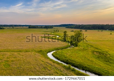 Aerial view of meandering lowland river Koningsdiep near Beetsterzwaag in the Netherlands Foto d'archivio ©