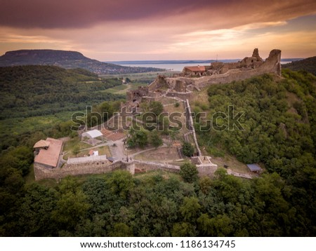 Aerial view of medieval castle ruin of Szigliget at Lake Balaton in Hungary Stock photo ©