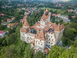 Aerial view of medieval Dracula castle in Bran Transylvania Romania