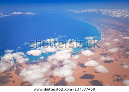 Aerial view of Mediterranean sea coastline, Egypt - stock photo