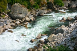 Aerial view of Merced  River's Whitewater Rapids and green pool - Yosemite National Park