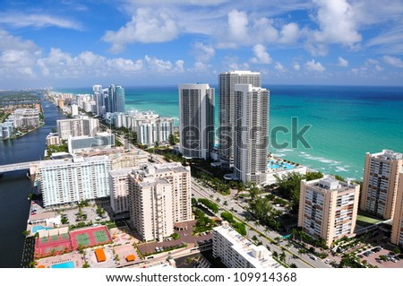 Aerial view of Miami beach area, Florida, USA