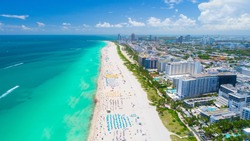 Aerial view of Miami Beach, South Beach, Florida, USA.