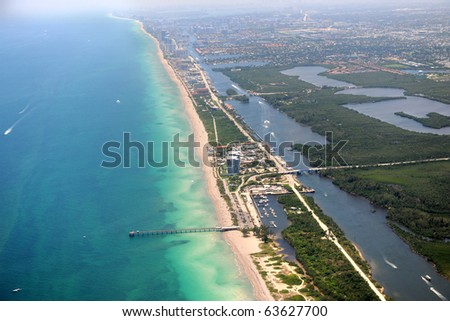 Aerial view of Miami coastal area