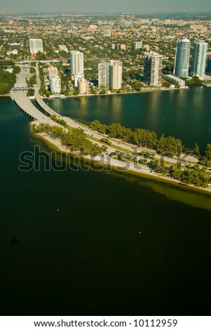 Aerial view of Miami region showing road related objects and landscapes