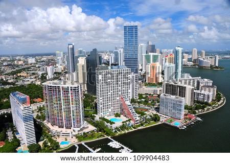 Aerial view of Miami skyline, Miami, Florida, USA