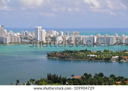 Aerial view of Miami South Beach, Florida, USA