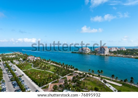Aerial View of Miami South Pointe Park and Fisher Island.