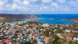 Aerial view of Micoud village, Saint Lucia