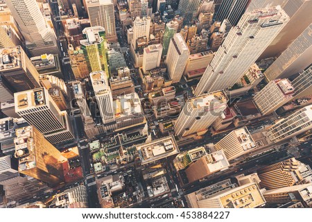 Aerial view of Midtown Manhattan at sunset with a view of St Patrick's Cathedral #453884227