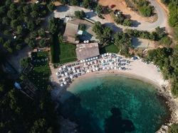 Aerial view Of Mikri Ammos Beach In Sivota, Epirus, Greece