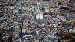 Aerial view of Milan, Italy cityscape, skyline. Panoramic view of Milan, Italy