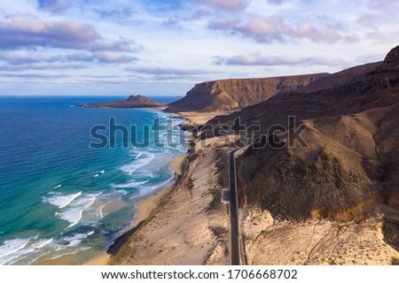 Aerial view of Mindelo coastline beach  in Sao Vicente Island in Cape Verde Foto stock ©