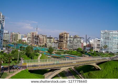 Aerial view of Miraflores Park, Lima - Peru - stock photo