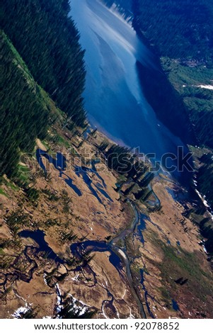 Aerial View of Misty Fjords - stock photo