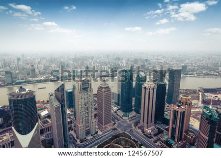 aerial view of modern city in shanghai skyline