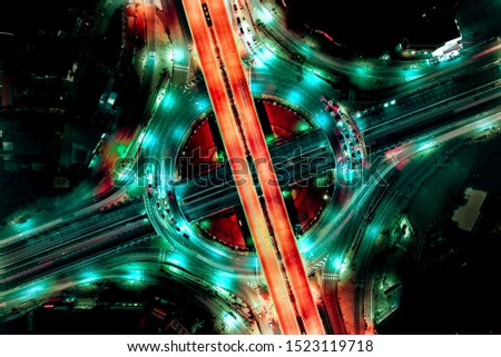 Aerial view of Modern transportation with Expressway, Road and Roundabout, multilevel junction highway-Top view. Important infrastructure.