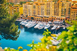 Aerial view of Monaco port. Port Fontvieille, Monaco Ville, topview from Monaco Ville, azure water, harbor, luxury apartments, yachts. view of yachts in Port Hercules, Monaco.