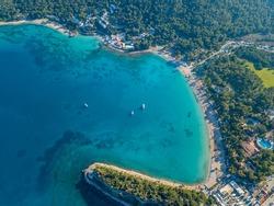 Aerial view of moonlight beach in Kemer, Antalya in Turkey.