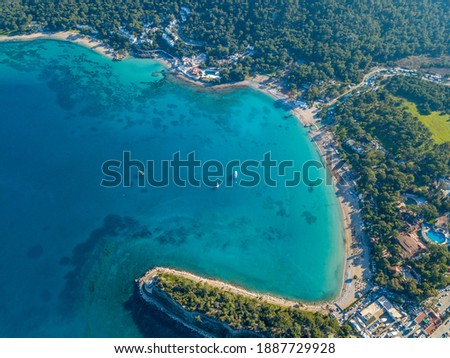 Aerial view of moonlight beach in Kemer, Antalya in Turkey. Stok fotoğraf ©